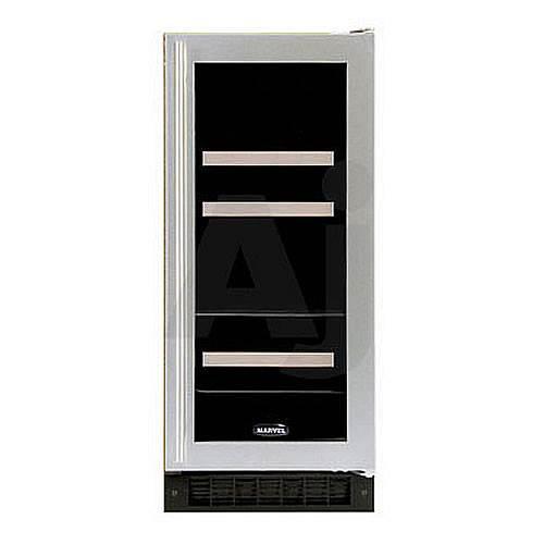 Marvel Beverage and Wine Fridge - 15  Width - Black Cabinet with Black Frame Glass Door