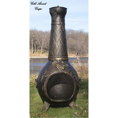 Blue Rooster Grape Leaf Cast Aluminum Gas Chiminea Online Discount Alch001gk Co