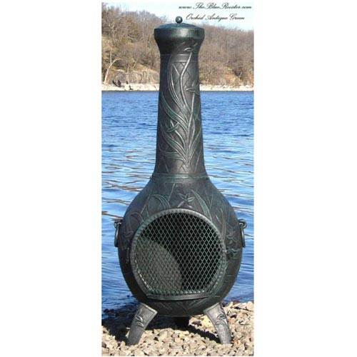Blue Rooster Orchid Cast Aluminum Chiminea